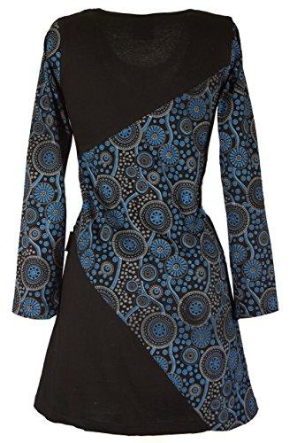 Kleider Kurze Tunika Shop Guru Boho Chic Bekleidung Blau Minikleid Hippie Baumwolle Schwarz Damen Alternative wnzax8U
