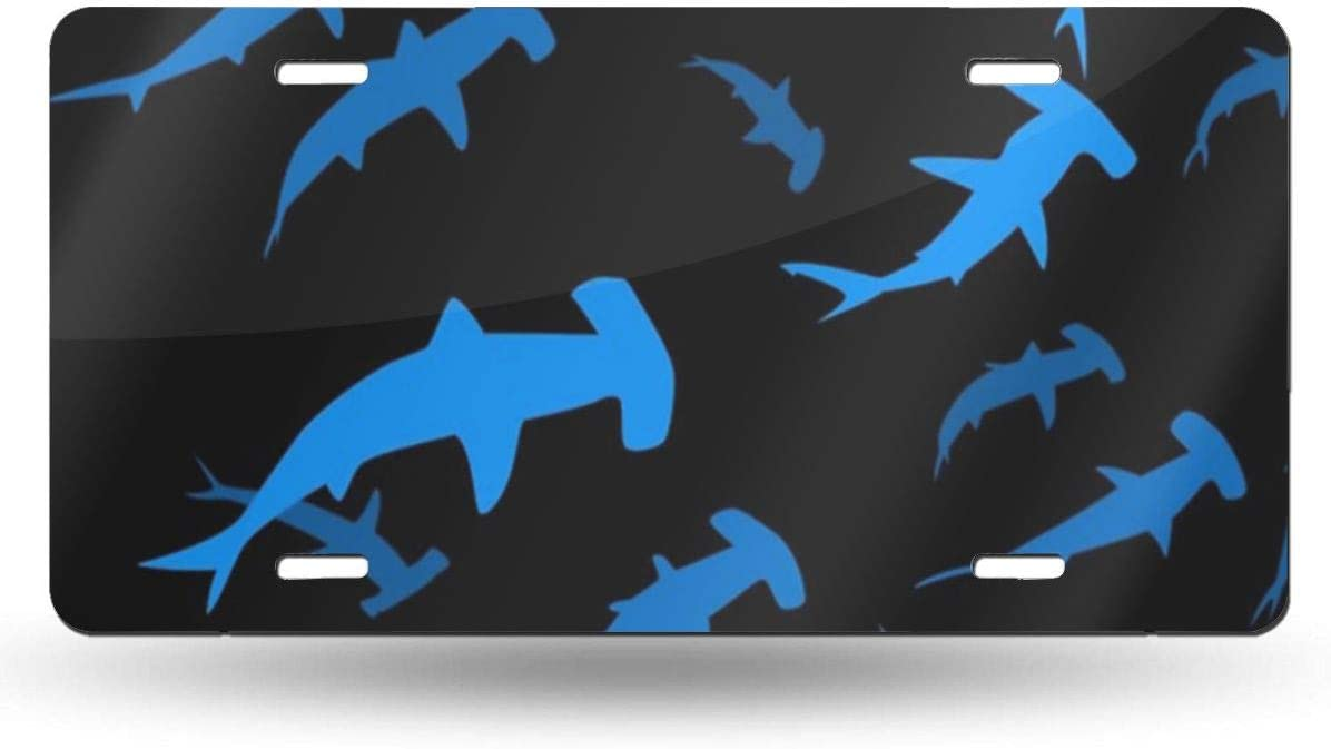 WUZZZZ Hammerhead Sharks License Plate Front License Sign Car Tag Decorative Metal Plate