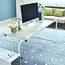 Soges Overbed Table 55 Laptop Cart Nursing Table Computer Desk Hospital Table for Eating on Bed, Black