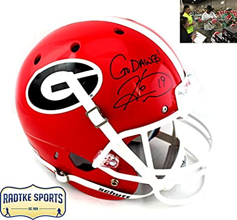 Hines Ward Autographed/Signed Georgia Bulldogs Schutt Full Size NCAA Helmet With