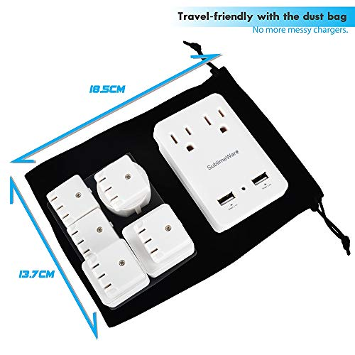 2000 W Travel Adapter Kit w/ 2 USB Ports & US Outlets - International Travel Adapter Plug Europe US UK China Ireland - Smart 2.4 A USB Electrical Charger Dual Voltage Device Sublimeware by SublimeWare (Image #3)