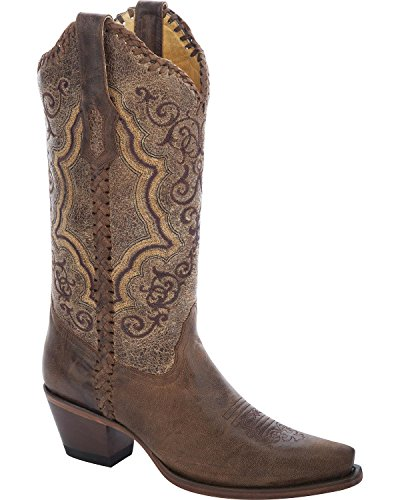 Corral Womens Distressed Whipstitch Cowgirl Boot Knip Teen - R1367 Distressed