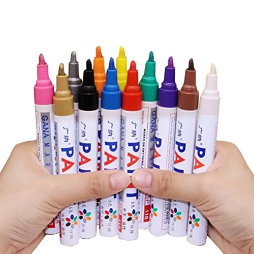 12 Pcs Acrylic Paint Pen for Ceramic Painting Permanent Acrylic Marker Painting Pens Durable