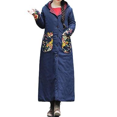 MEIbax Abrigos Mujer Invierno Abrigo de Invierno de Talla Grande para Mujer Gorras de impresión Acolchadas de algodón Chaqueta Larga y Suelta fácil: ...