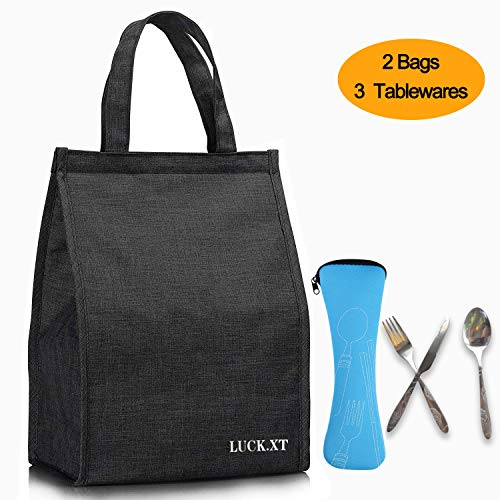 LUCK.XT Reusable Lunch Bag Simple Waterproof Insulated Lunch Box with Aluminum Foil,Oxford Cloth Portable Lunch Tote Handbag for Women,Men,School, Office (Black)