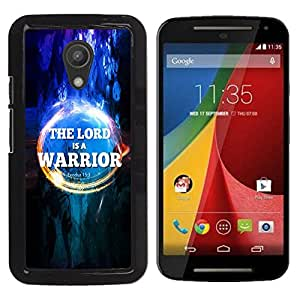 Paccase / SLIM PC / Aliminium Casa Carcasa Funda Case Cover para - BIBLE The Lord Is A Warrior - Exodus 15:3 - Motorola MOTO G 2ND GEN II