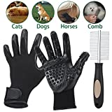 Slowton Pet Grooming Gloves and Comb Set, Pets Hair Remover Brush Glove Gentle Deshedding Tool, Double Side Pet Comb Stainless Steel Pinsfor Horse Dogs Cats Long Short Fur Bathing Grooming (Black)