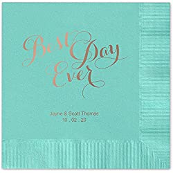 Best Day Ever Personalized Beverage Cocktail Napkins - Canopy Street - 100 Custom Printed Aqua Paper Napkins with choice of foil stamp