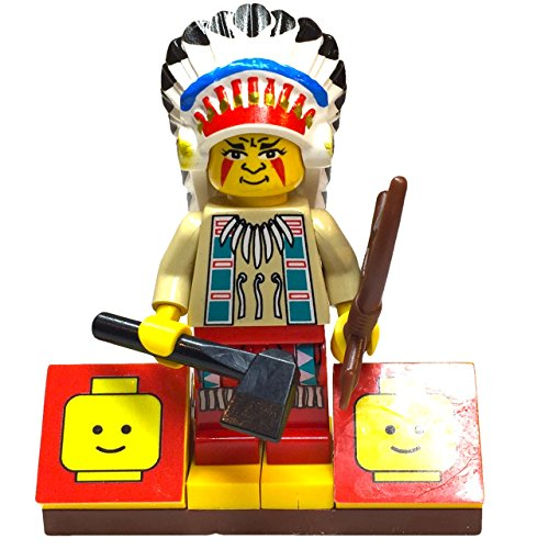 MinifigurePacks: Lego Western - Rapid River Village Indian Bundle (1) Chief Black Eagle Figure (1) Figure Display Base (2) Figure Accessory's (Axe & Bow with Arrow) (Lego Tribal Chief)