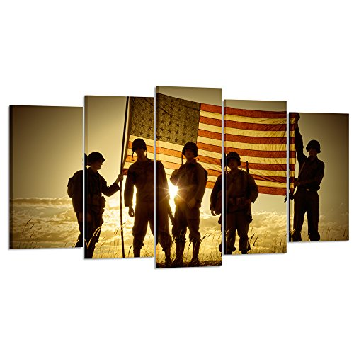 Kreative Arts - 5 Panels Silhouette of Soldiers with American Flag Canvas Painting Print Wall Art Vintage Armed Forces on Sunset Pictures Giclee Artwork for Wall Decoration (Large Size 60x32inch) (Silhouette Set Art Wall)