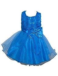 YipGrace Girls' Evening Performance Gauze Jumpsuit Roses Puff Dress Dark Blue 120