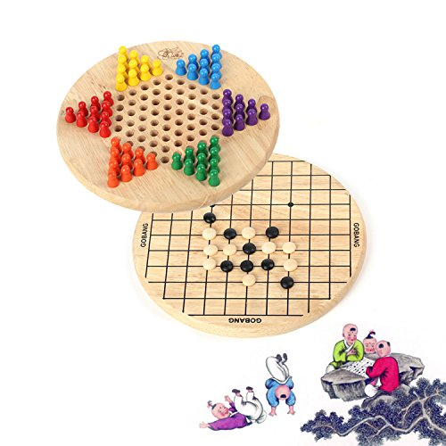 Joqutoys Wooden Chinese Checkers and Gobang (Five in a Row) 2 in 1 Puzzle Board Classic Game for kids and adults (Chinese Wood Board Checkers)