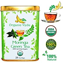 USDA Certified Organic Moringa Green Tea - 28 Bags. No Artificial Flavors or Preservatives. Non GMO and Gluten Free.