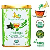 USDA Certified Organic Moringa Green Tea – 28 Bags. No Artificial Flavors or Preservatives. Non GMO and Gluten Free.