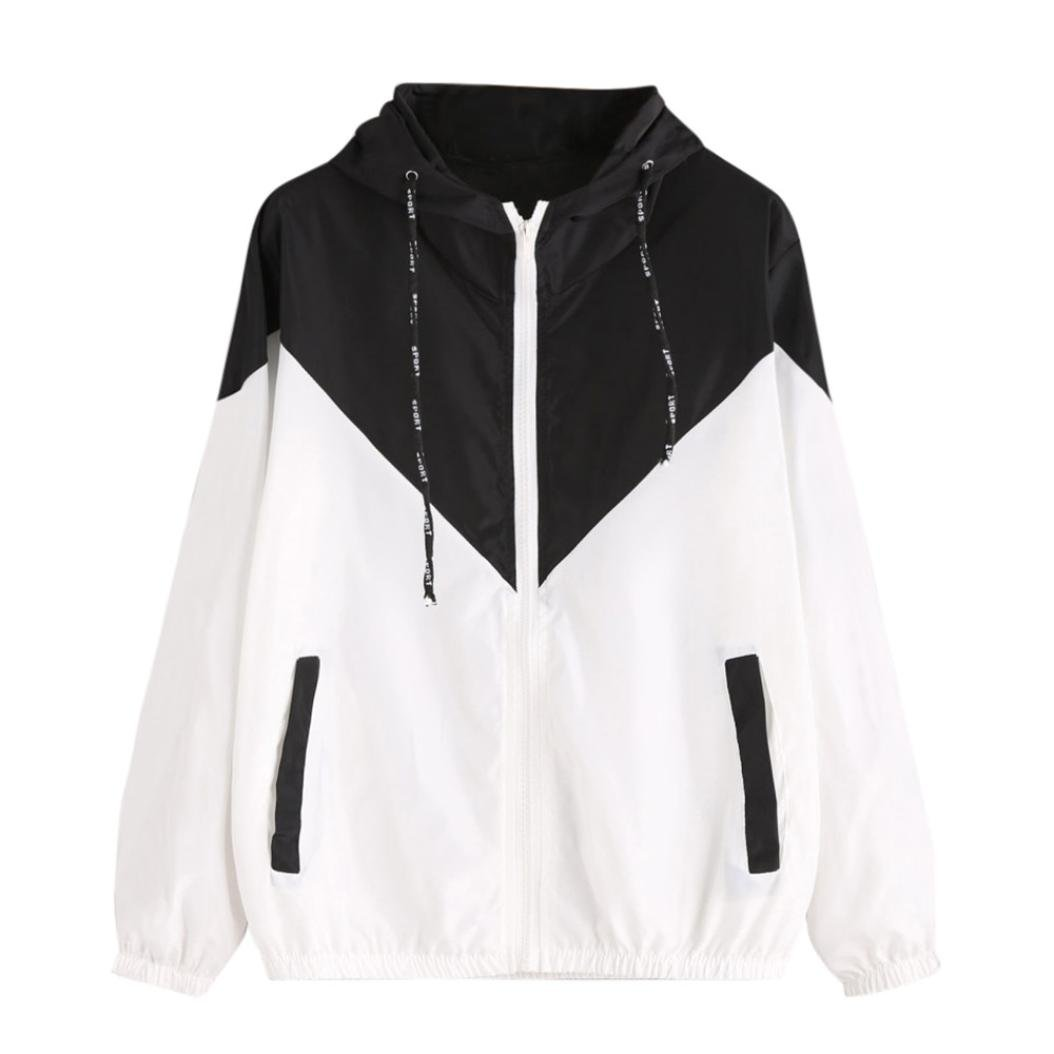 Women Hoodie Jacket,Lelili Warm Three-Color Patchwork Long Sleeve Zip Button Up Pockets Jacket Outwear Coat with Hood (S, Black)