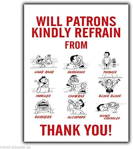Retro Metal Plaque//Sign Pub Bar Man all sizes SWIMMING POOL RULES REFRAIN FROM