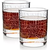 Etched Old Fashioned Whiskey Glasses - with Gift Box | 2 City Map Tumblers - Houston, TX