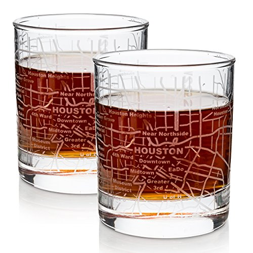 Etched Houston Whiskey Glasses Gift Set | 2 Skyline Old Fashioned Tumblers - Houston, TX