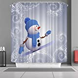 "VANCAR Waterproof Bathroom Decor Custom Xmas Merry Christmas Shower Curtain Sets with Hooks 66""X72"" 3D Snowman Skiing Pattern Print"