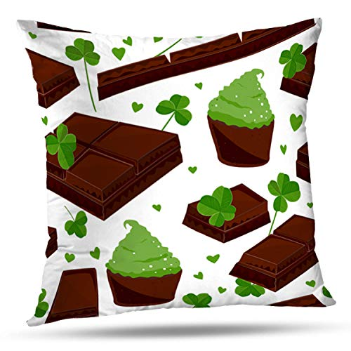 r Leaves Chocolate and Green Bar Broken Brown Square Decorative Pillow Case 20 x 20inch Zippered Pillow Cover for Bedroom Living Room(Two Sides Print) ()