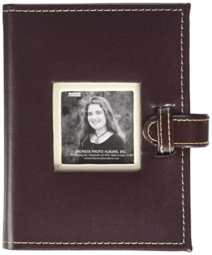 Pioneer Photo Albums 24 Pocket Sewn Leatherette Frame Cover Album with Strap Closure for 4 by 6-Inch Prints, Dark Brown (Closure Four)