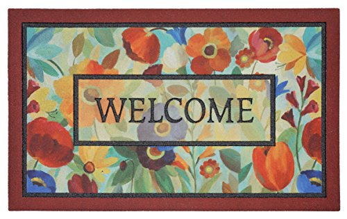 Mohawk Home Doorscapes Stain Glass Flowers All All Weather Rubber Durable Non Slip Entry Way Indoor/Outdoor Welcome Door Mat, 18 x 30 Inch, ()