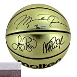 Michael Jordan, Magic Johnson and Larry Bird Signed Molten Gold NBA Basketball - Limited Edition of 92 - UDA
