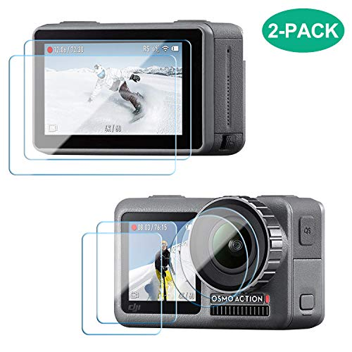 [2 Pack] Tempered Glass Screen Protector Film for DJI OSMO Action Camera, 9H Ultra Clear Anti-Scratch Explosion-Proof Tempered Glass Protection Film for Front & Rear Screen and Lens Screen