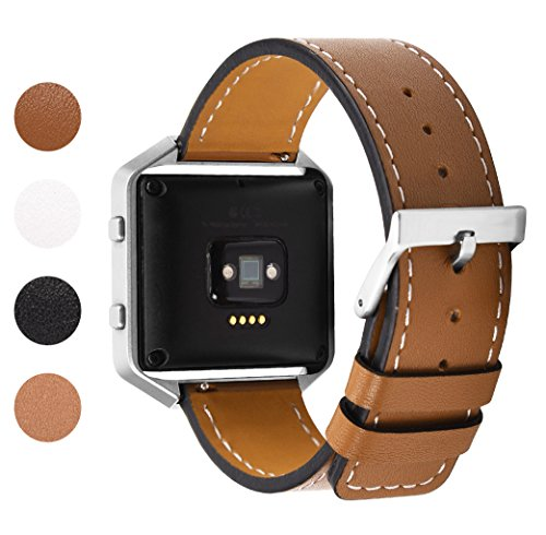 Soulen for Fitbit Blaze Band, Leather Bands with Metal Frame Small Large for Fitbit Blaze Fitness Tracker