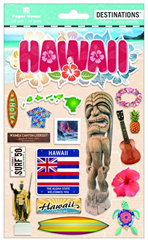 - Paper House Productions Travel Hawaii 2D Stickers, 3-Pack