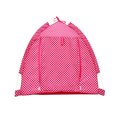 Pet Summer Pet Foldable Tent Dog Cat Tent Washable Durable Pet Tents (M:18.89″x18.89″x16.93″, Pink)