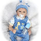 NPK Collection Reborn Baby Doll realistic baby dolls Vinyl Silicone Babies 22inch 55cm Newborn real baby doll Life Like Reborn Pacifier Lovely Baby Blue Boy