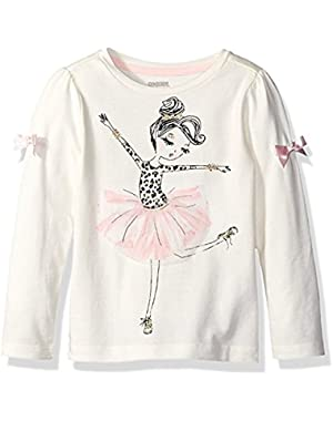 Baby Girl's Ballerina Graphic Tee, Snow Bunny