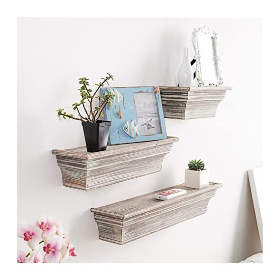 MyGift Rustic Torched Wood Wall Mounted Display Floating Shelves, Set of 3, Brown - A set of 3 wall mounted torched whitewash finish wood floating shelves in assorted sizes. Perfect for creating a unique decorative display on any wall in your home with photos, plants, collectibles and more. Simple to mount on any wall using the pre-drilled slots on the back of each shelf (mounting hardware not included). - wall-shelves, living-room-furniture, living-room - 519YTR4rmyL. SS570  -