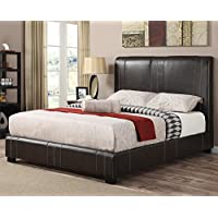 Caleb Upholstered Bed in Dark Brown (California King)