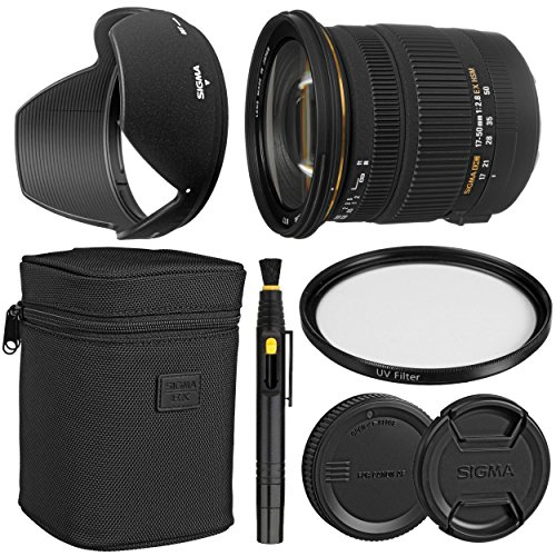 Sigma 17-50mm f/2.8 EX DC OS HSM Zoom Lens for Canon DSLRs with APS-C Sensors + Essential Bundle Kit + 1 Year Warranty - International Version