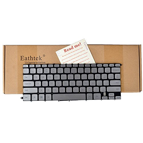 (Eathtek Replacement Keyboard with Backlit Without Frame Compatible for Dell Inspiron 14 7000 7437 14-7437 14-7000 Series Silver US Layout, Compatible Part# TR1J9 0VK5RX NSK-LF0BW)