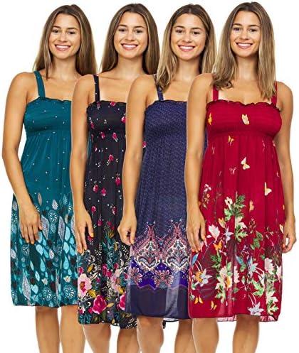 Set of 4 Sundresses for Women Plus Size Sun Summer Dresses Casual Cruise & Beach