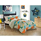LV 5 Piece Kids Wild Animal Comforter Set Full Sized, Jungle Safari Rain Forest Animals Themed Bedding Abstract Geometric Triangle Line Pattern Grey Blue Yellow Green Orange, Polyester