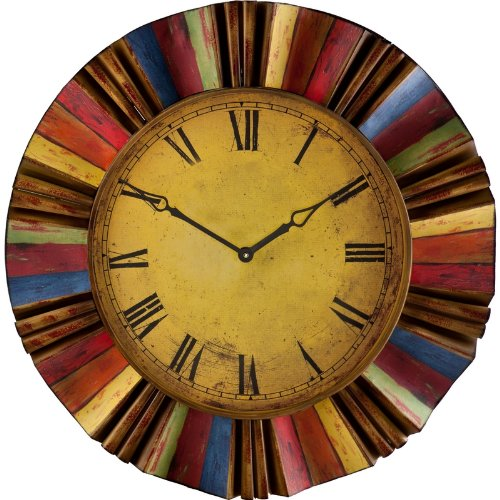 Multicolor Wall Clock - abstract yellow wall clocks | yellow wall decor
