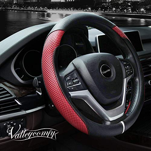 Valleycomfy Steering Wheel Cover with Microfiber Leather for Car Truck SUV 15 inch (Style-Red) - Line Racing Wheels