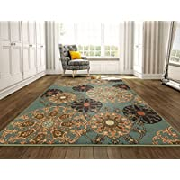Ottomanson Ottohome Collection Seafoam Damask Design Area Rug with Non-Skid (Non-Slip) Rubber Backing, Seafoam, 82 x 910