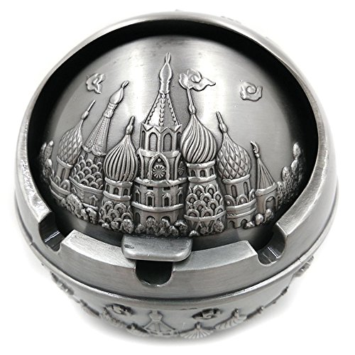 Max&Mix Cigar Ashtray with Lid, Creative Portable Vintage Wind-proof Metal Castle Ash Tray Cigarettes for Home Office Tabletop Decoration,Gift Ashtray,Smoker Father's Day Gift (Sliver) for $<!--$19.99-->