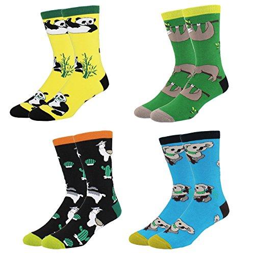 4 Pack Men's Art Fun Funny Socks, Animals Dress Crew Novelty Socks Size 8-14