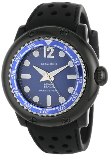 Glam Rock Men's MB26015 Miami Beach Rescue Team Blue Dial Black Silicone Watch