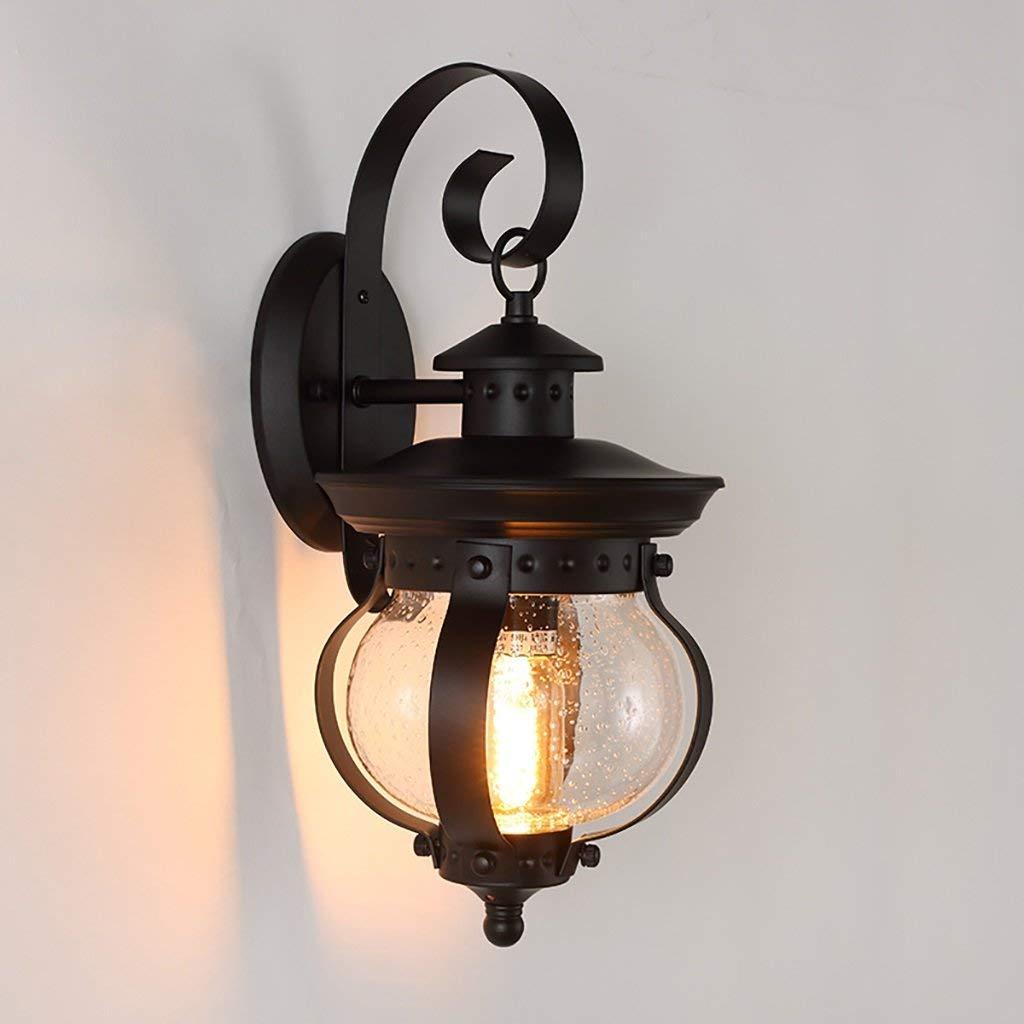 GZ Lampada da Parete per la casa Lampada da Parete per Esterno in Ferro Creativo con Testa Singola in Vetro da Esterno