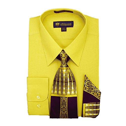 Milano Moda mens Dress Shirt with Tie/Handkerchief HLSG21 New York Brand