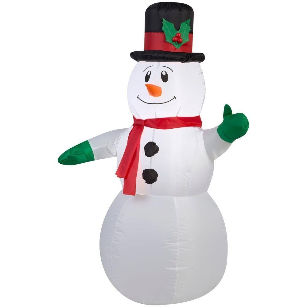 3.5 Foot Snowman with Tophat and Scarf LED Airblown Inflatable