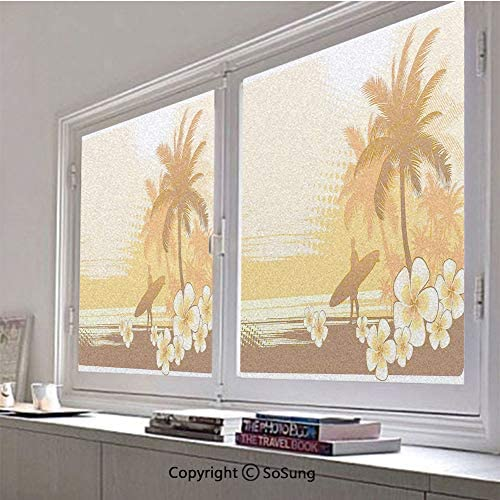 30×48 inch Decorative Window Privacy Film,Silhouette of a Surfer and Tropical Landscape Free Your Mind Artsy Illustration Frosted Stained Window Clings Static Cling for Home Bedroom Office