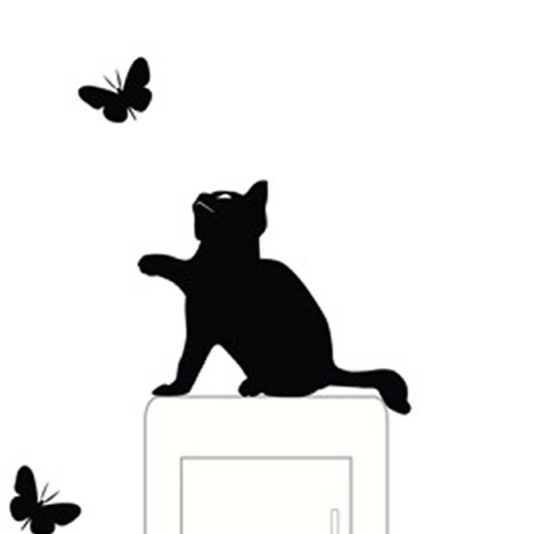 Womail Bathroom Cat Stickers Wall Decal For Living Room Light Switch Decor (Black)